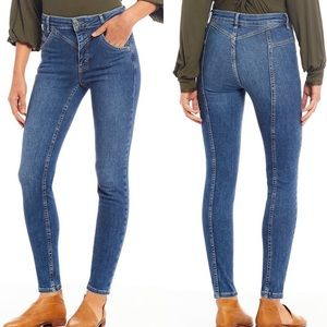 Free People Riley Seamed High Rise Skinny Jean